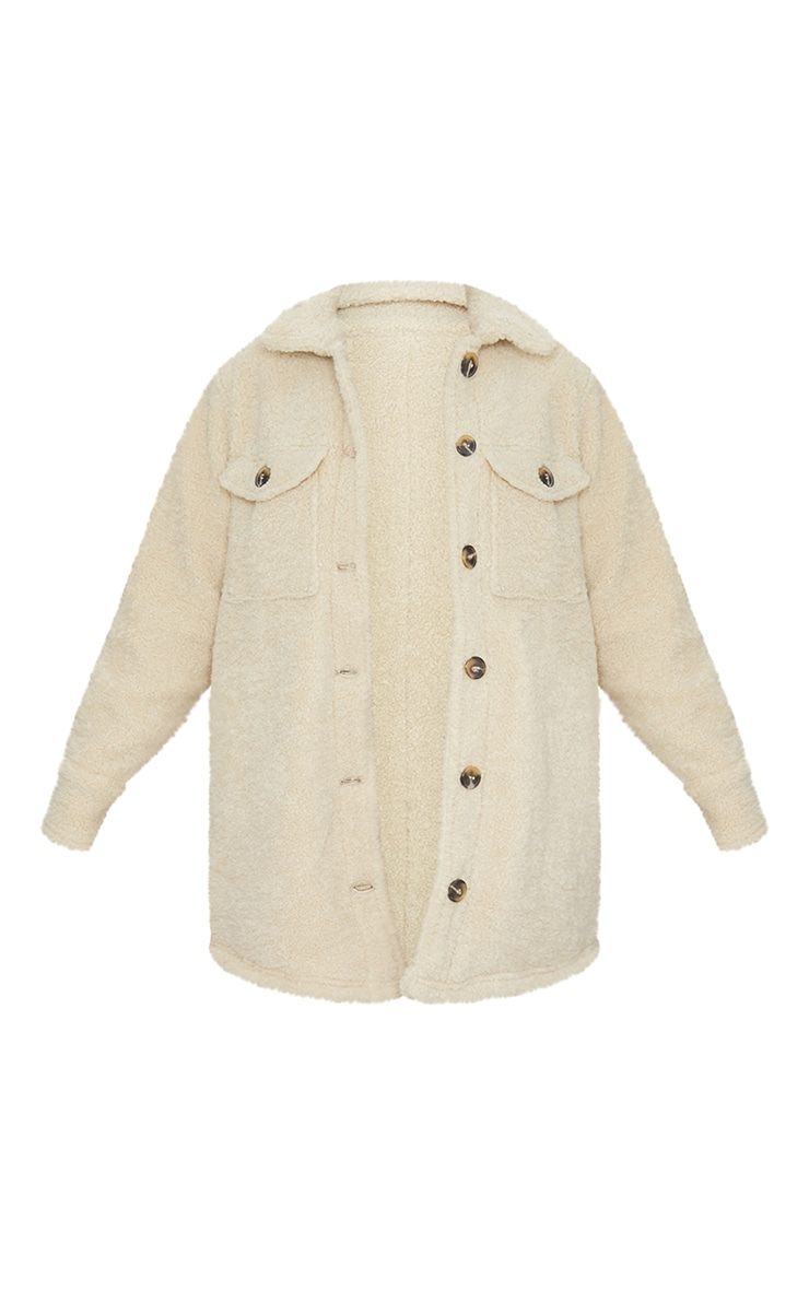 Cream Borg Pocket Button Up Shacket 5