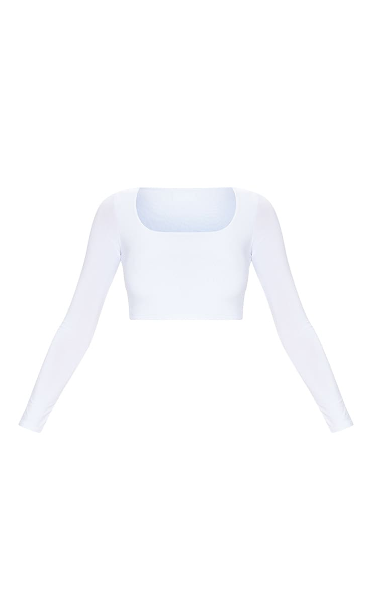 White Second Skin Square Neck Long Sleeve Crop Top 4