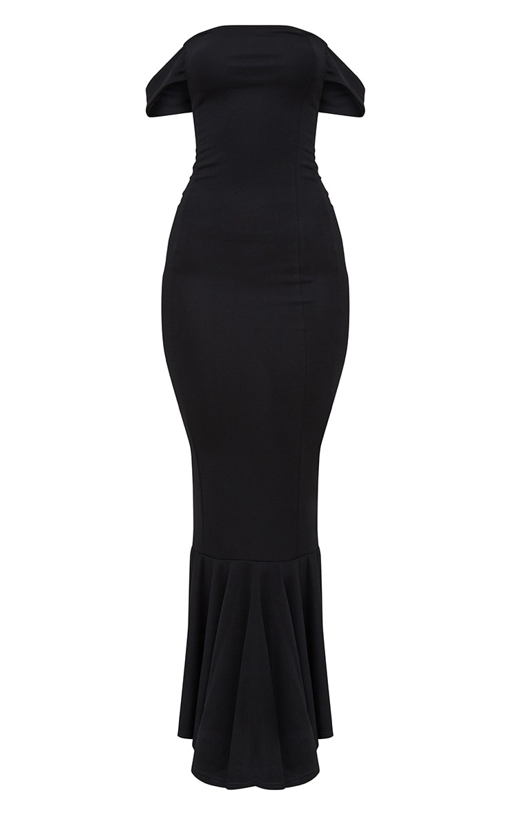 Black Bardot Frill Hem Maxi Dress 3