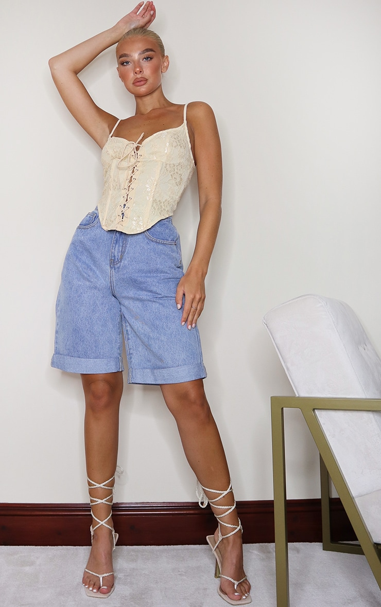 Cream Lace Tie Front Curved Hem Cropped Corset 3