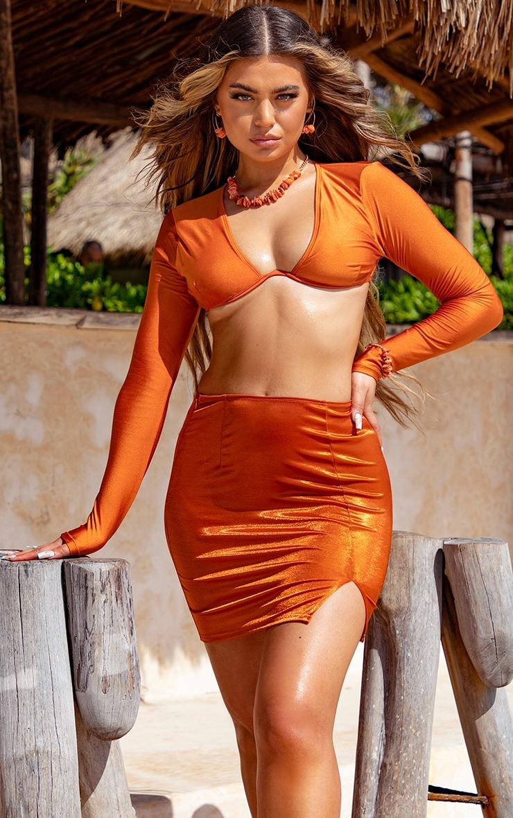 Orange Metallic Mini Split Beach Skirt 1