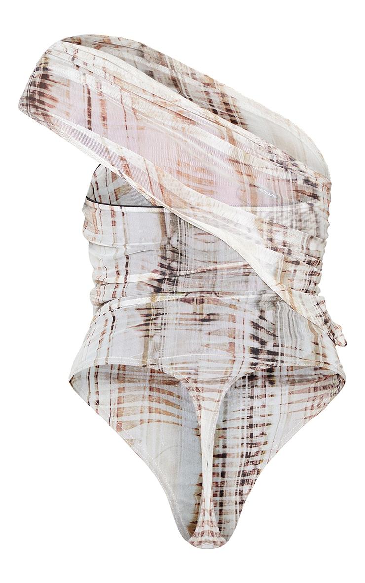Stone Abstract Print Mesh Overlay One Strap Detail Sleeveless Bodysuit 6