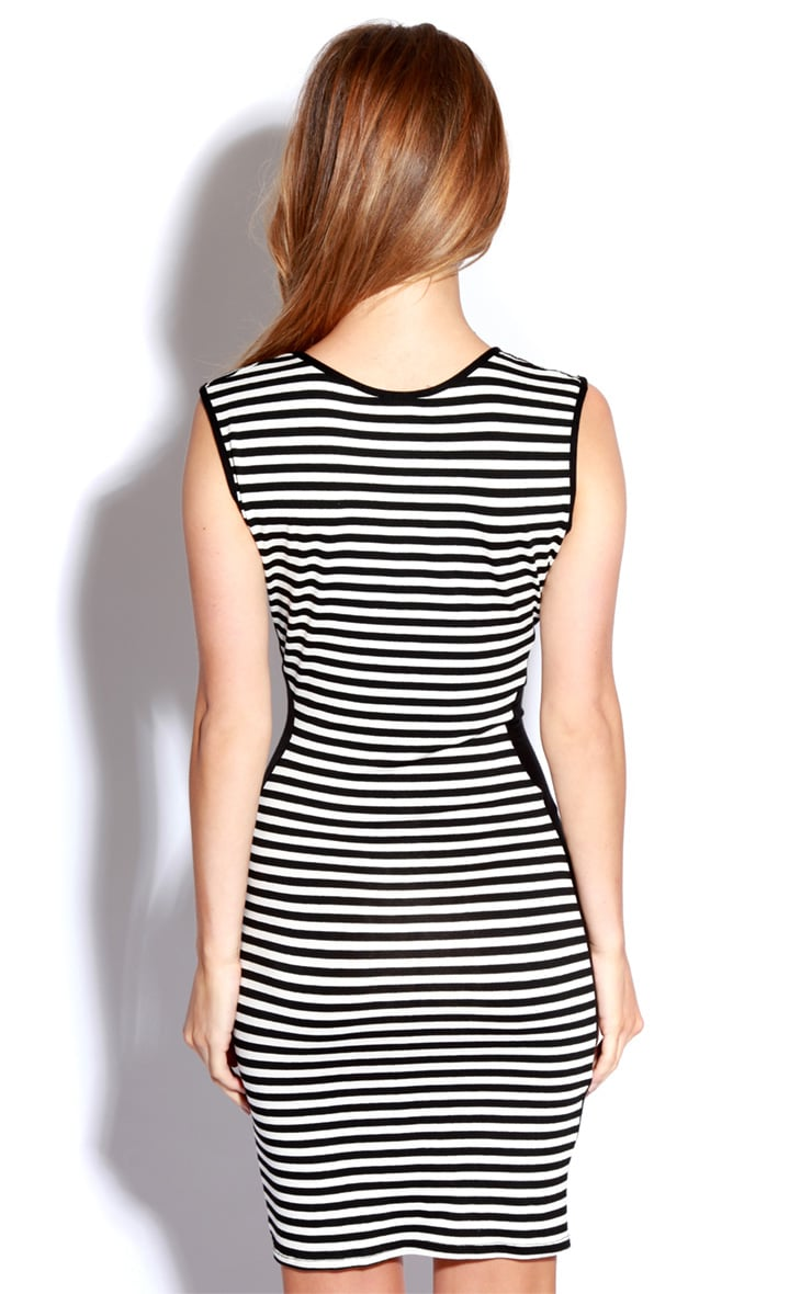 Donna Black & White Stripe Bodycon Dress 4