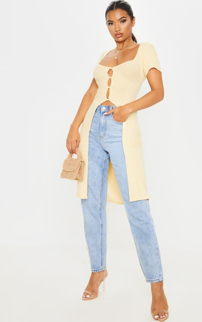 Sand Brushed Rib Button Short Sleeved Longline Top