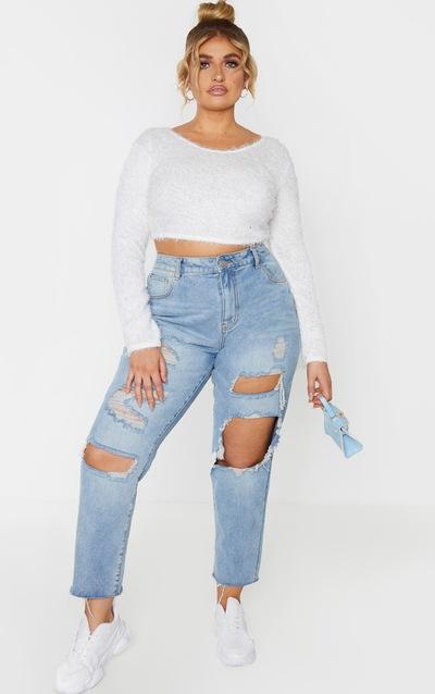 Plus Cream Eyelash Knit Crop Jumper