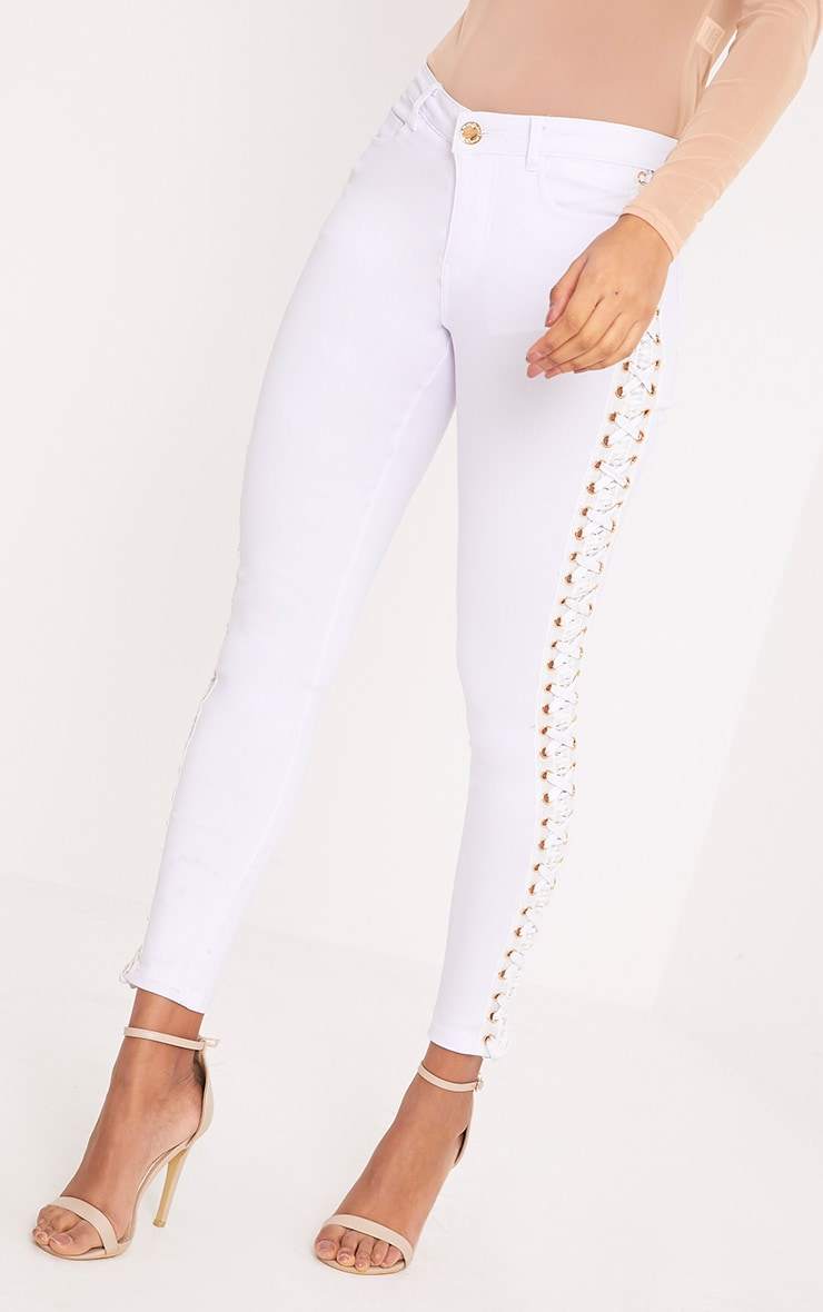 Arietta White Eyelet Lace Up Stretch Trouser 2
