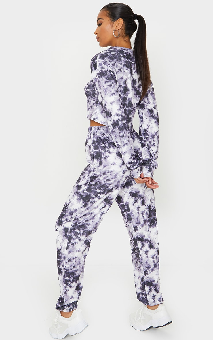 Purple Tie Dye Cropped Sweat And Jogger Set 2