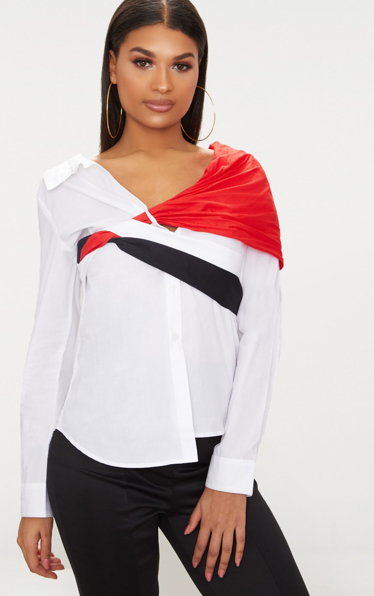 White Colour Block Off The Shoulder Shirt  1