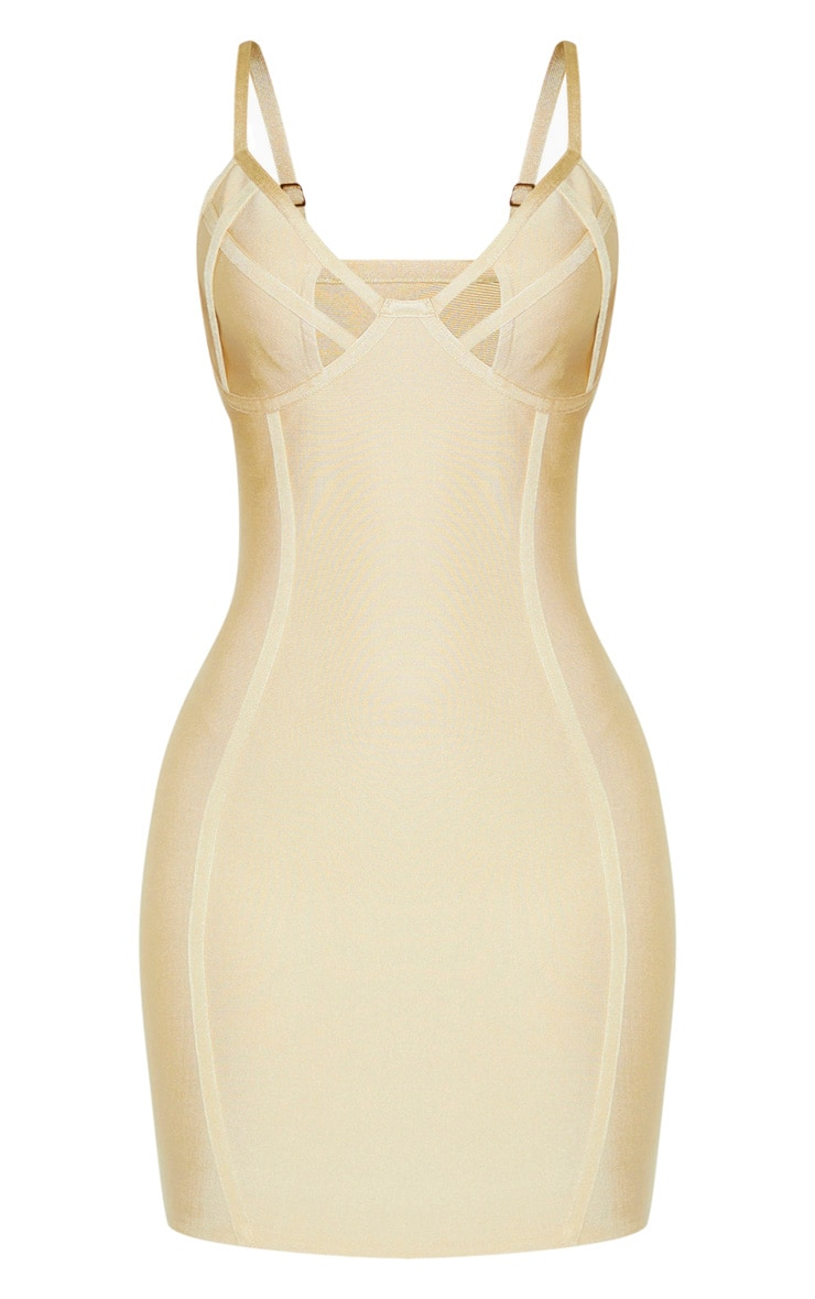 Nude Strappy Cut Out Cup Detail Bandage Bodycon Dress 3