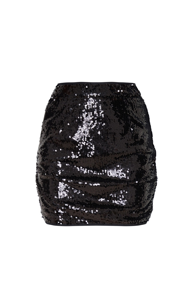 Black Sequin Detailed Mini Skirt 3
