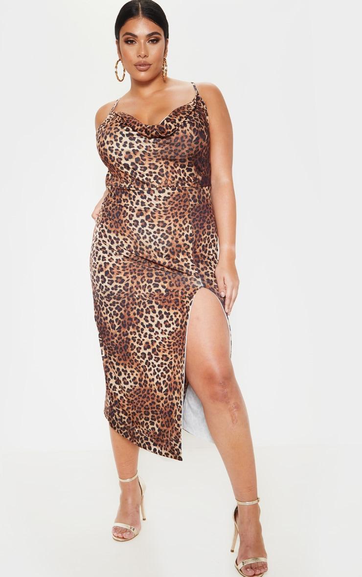 Plus Brown Leopard Print  Extreme Split Midi Dress  1