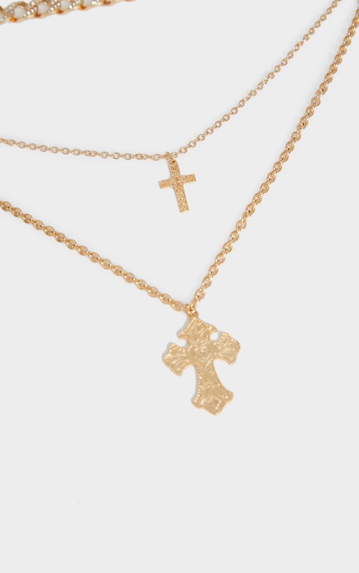 Gold Double Crosses Layering Necklace 3