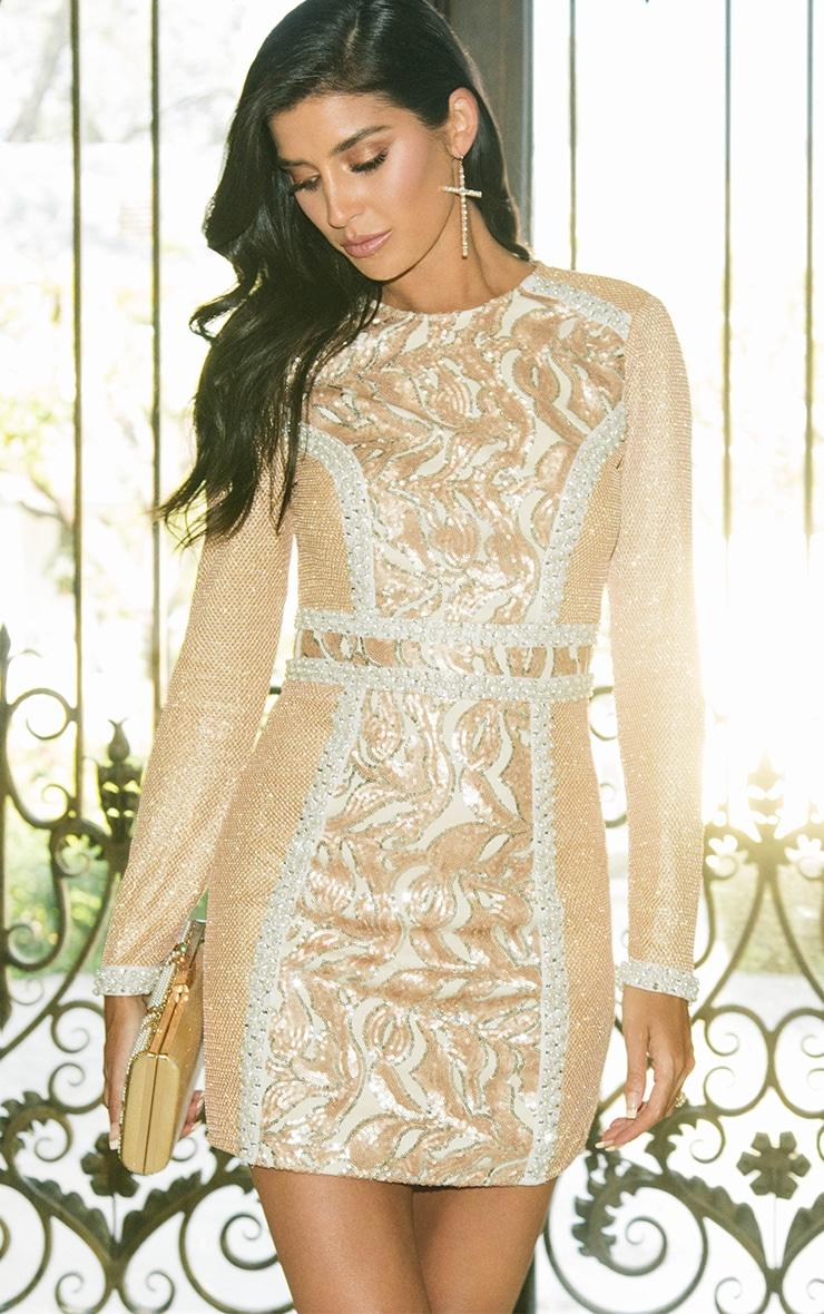 Selenia Rose Gold Premium Sequin Panelled Bodycon Dress 1