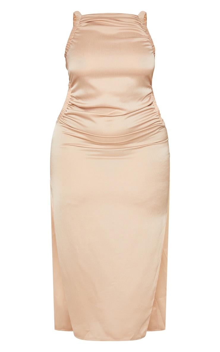 Plus Mocha High Neck Ruched Cut Out Midi Dress 5