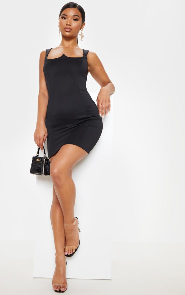 Black Structured Bodice Bodycon Dress 4