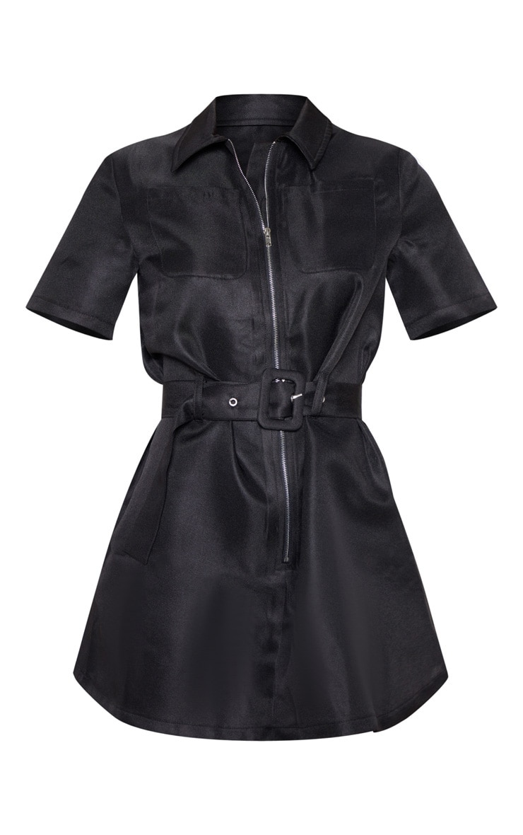Petite Black Zip Detail Belted Utility Dress 3