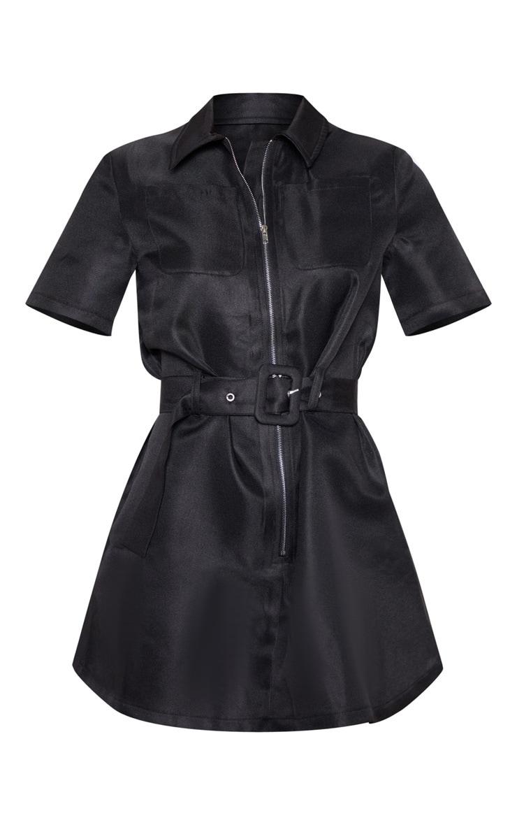 Petite Black Zip Detail Belted Utility Dress  3