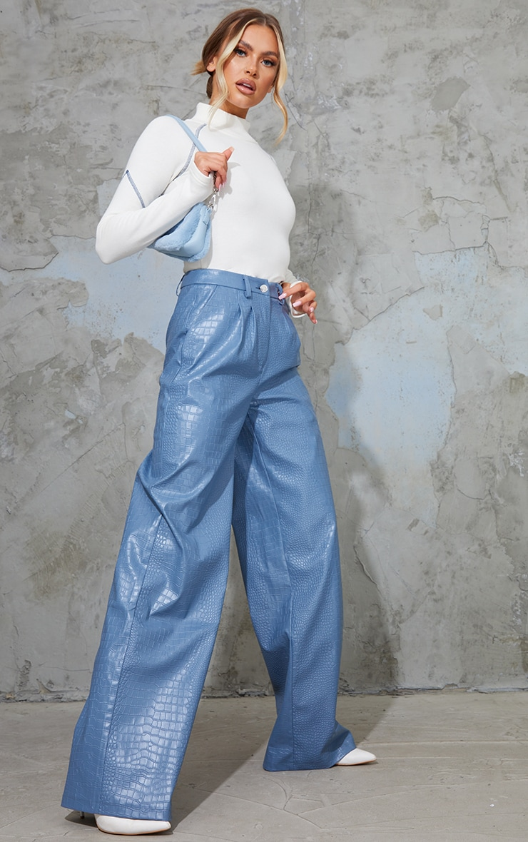 Charcoal Blue Croc Faux Leather Wide Leg Trousers 1