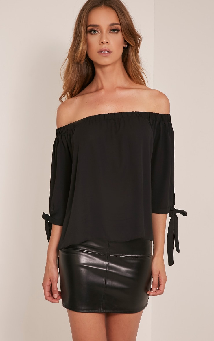 Alysia Black Bardot Chiffon Top 1