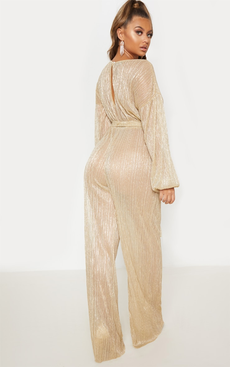 Gold Metallic Sheer Plisse Wide Leg Jumpsuit 3