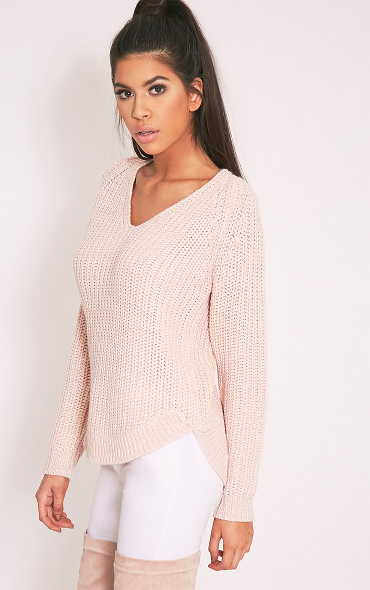 Elania Pink V Neck Cable Knit Jumper 4