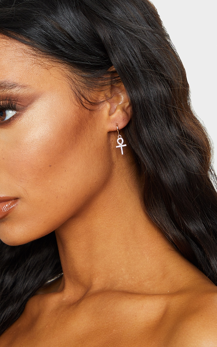 Gold Diamante Mini Ank Hoop Earrings 2