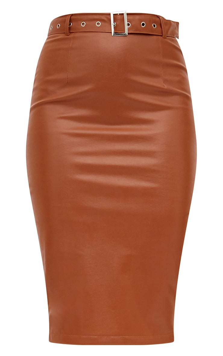 Tan Faux Leather Belted Midi Skirt 3