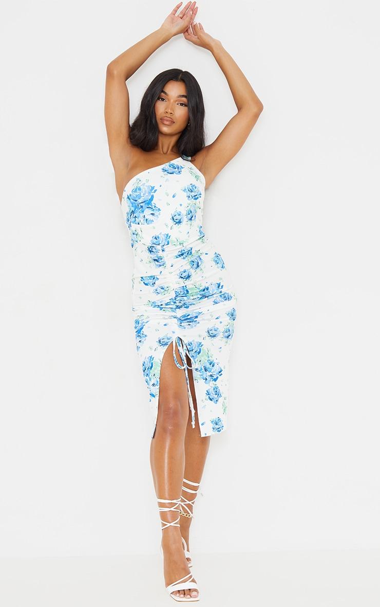 Blue Floral Print Ruched One Shoulder Midi Dress 1