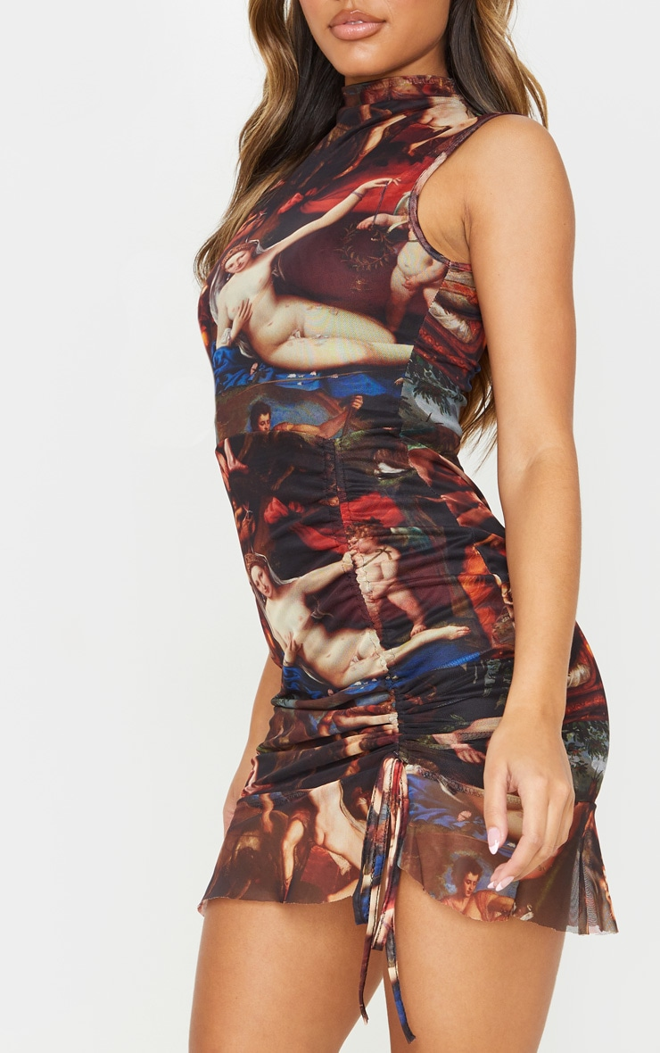 Multi Renaissance Print Mesh Sleeveless Ruched Bodycon Dress 5