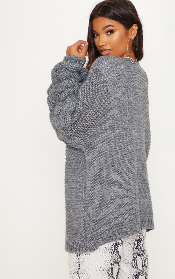 Grey Knitted Bubble Sleeve Cardigan 2