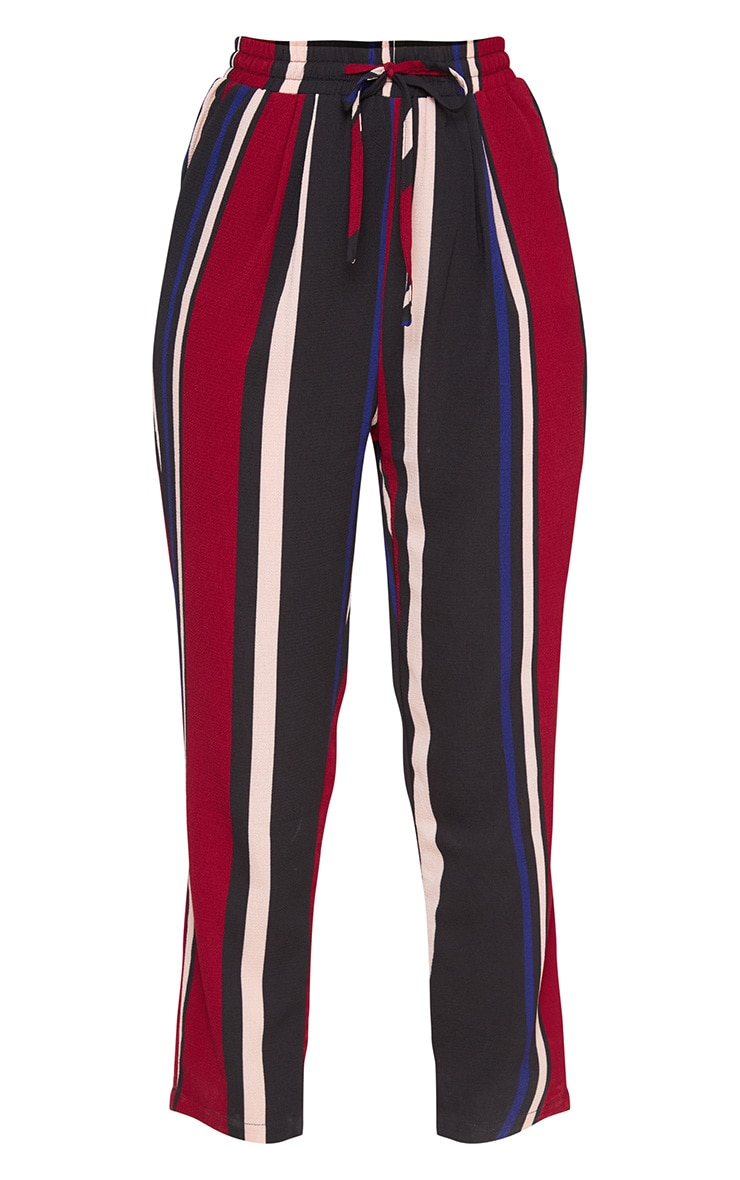 Burgundy Stripe Casual Trousers 3