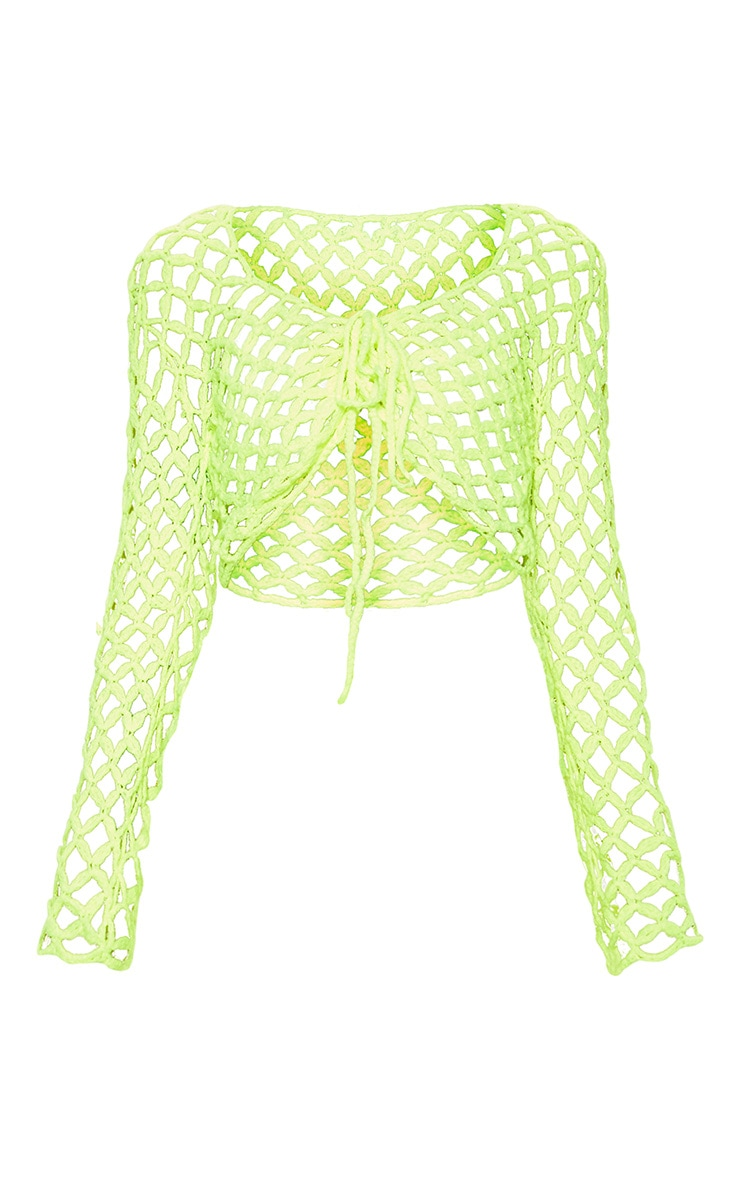 Lime Crochet Lace Up Top 3