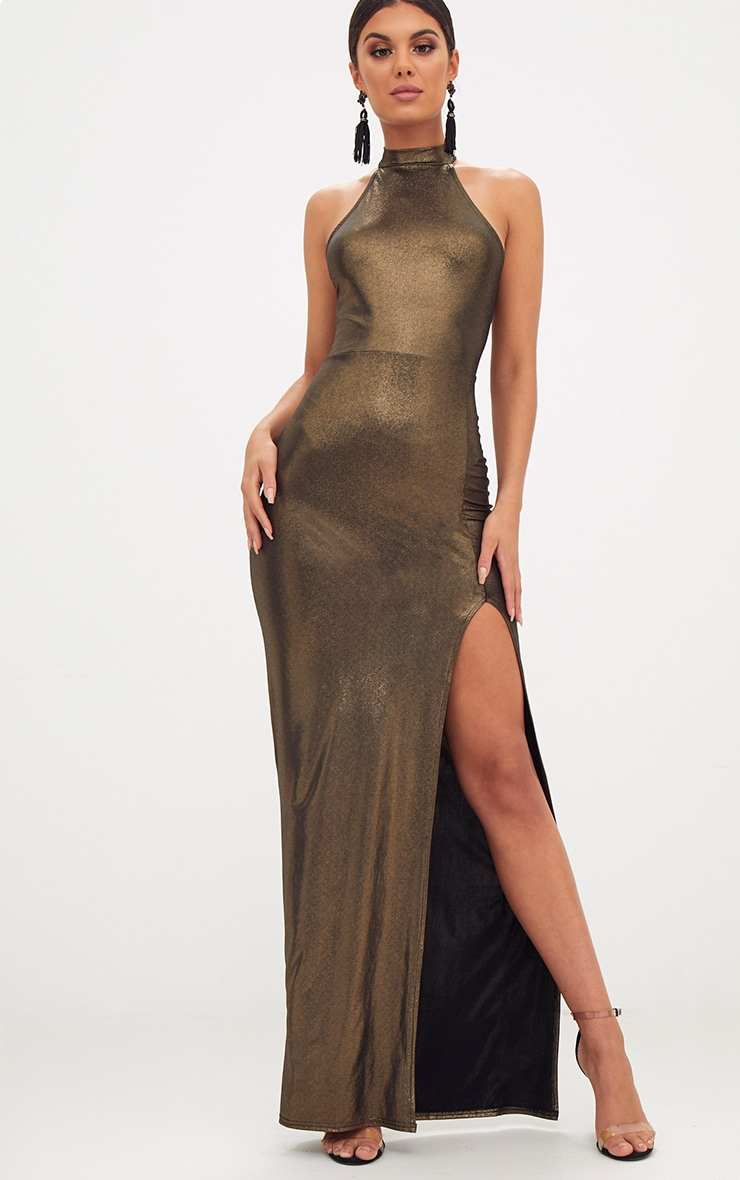 Gold Metallic High Neck Maxi Dress 1