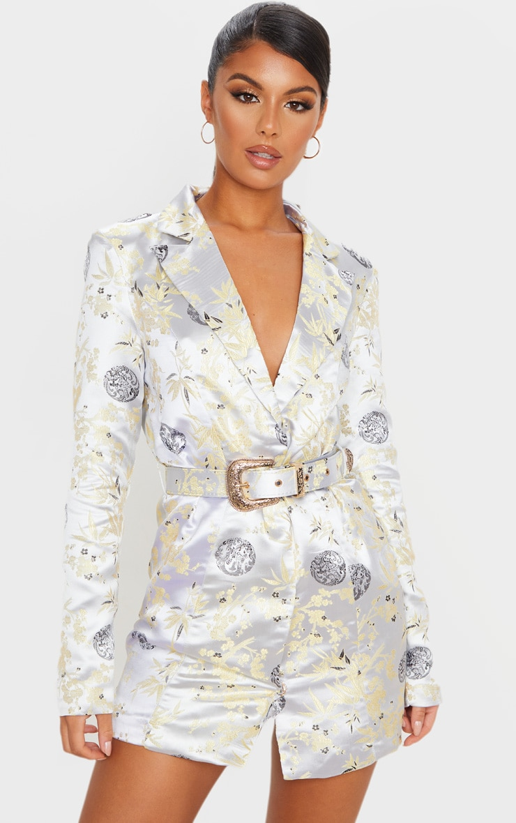Silver Jacquard Long Sleeve Belt Detail Blazer Dress