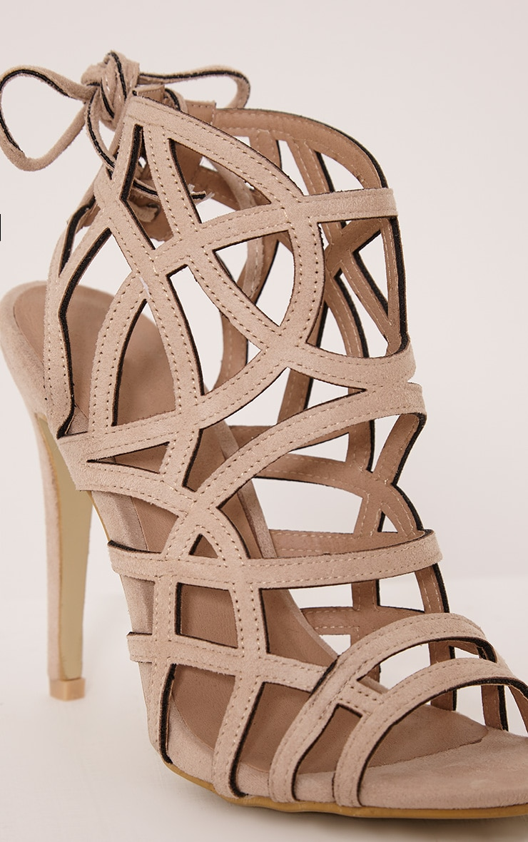 Salina Cream Faux Suede Cut Out Heeled Sandals 5