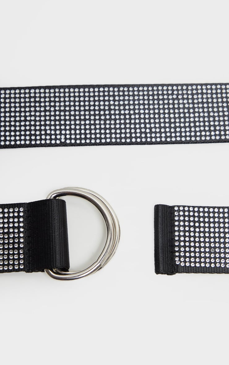 Silver All Over Diamante D Ring Tape Belt 3