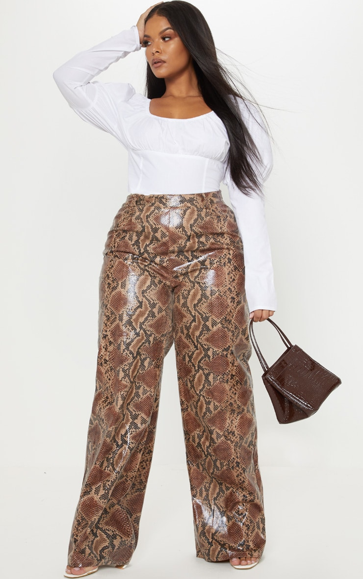 Plus White Puff Sleeve Square Neck Crop Top 4