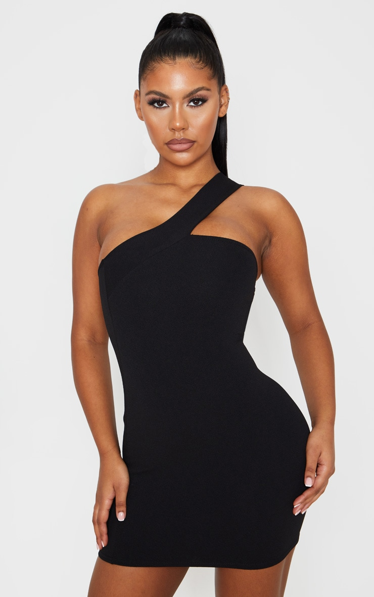Black One Shoulder Strap Bodycon Dress 1