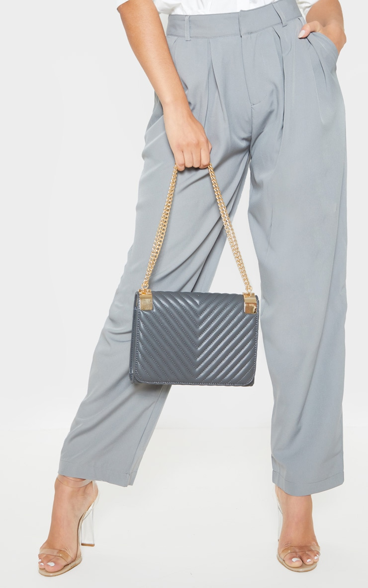 Grey Quilted PU Large Cross Body 1