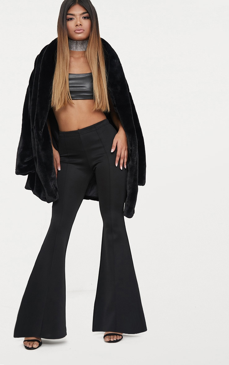 Petite Black High Waist Extreme Flare Trousers 1