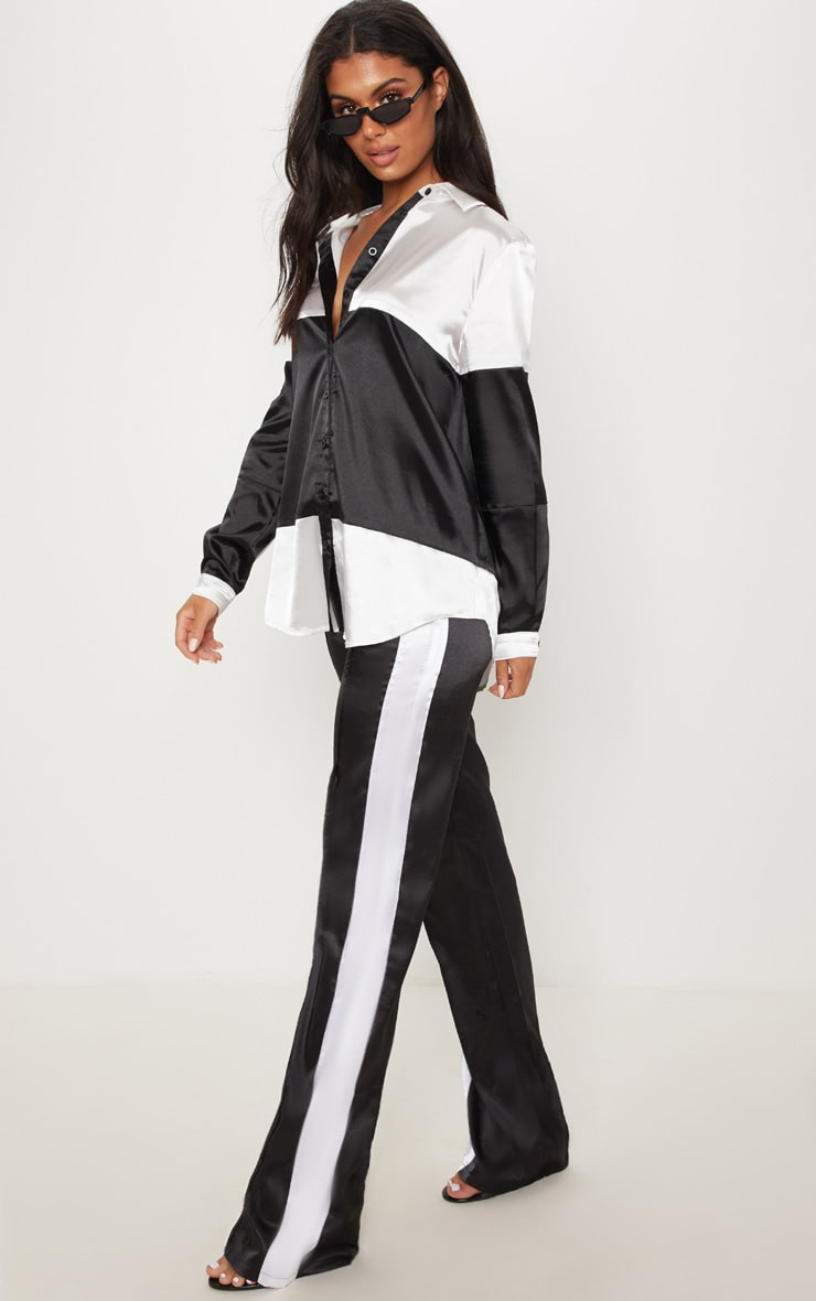 Monochrome Satin Contrast Stripe Wide Leg Trouser