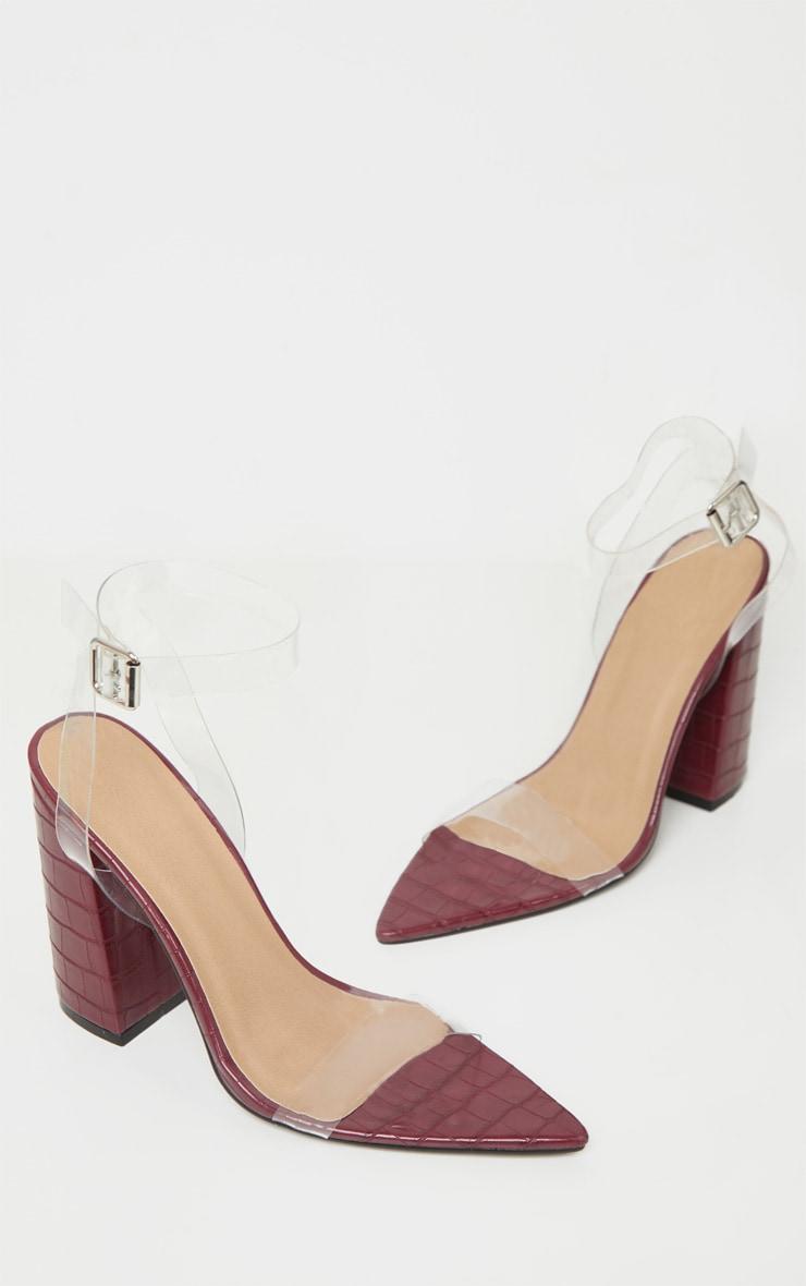 Burgundy Croc Clear Strap Block Heel Point Toe Sandal 3
