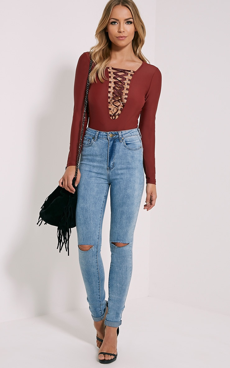 Enya Wine Lace Up Front Bodysuit 3