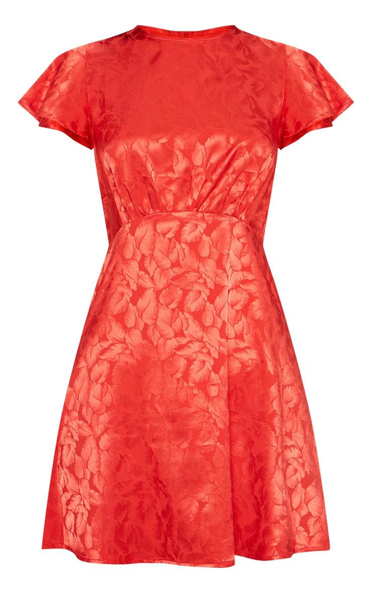 Red Floral Jacquard Ruched Top Skater Dress 3
