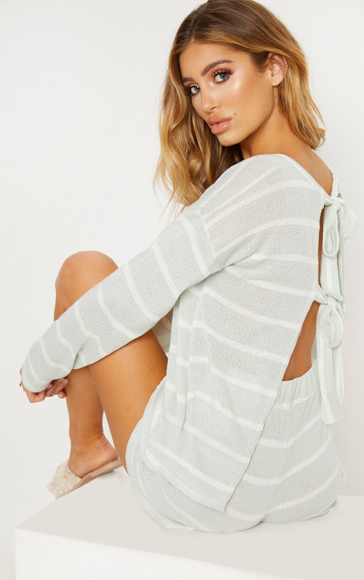 Mint Lightweight Knit Tie Back Top