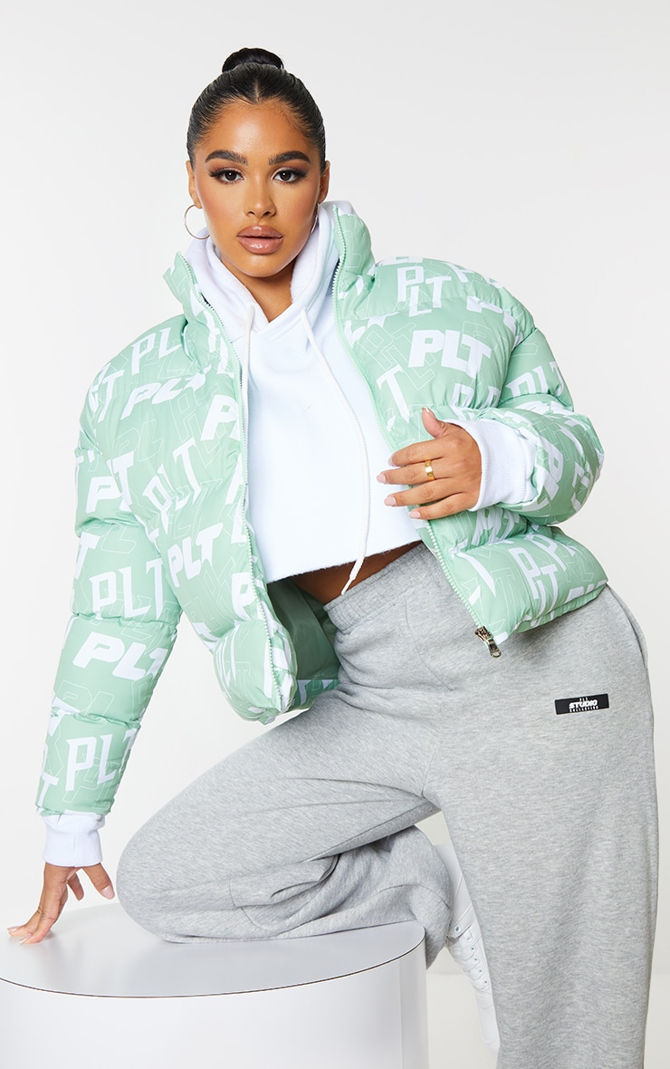 PRETTYLITTLETHING Petite Sage Green Printed Cropped Puffer 1