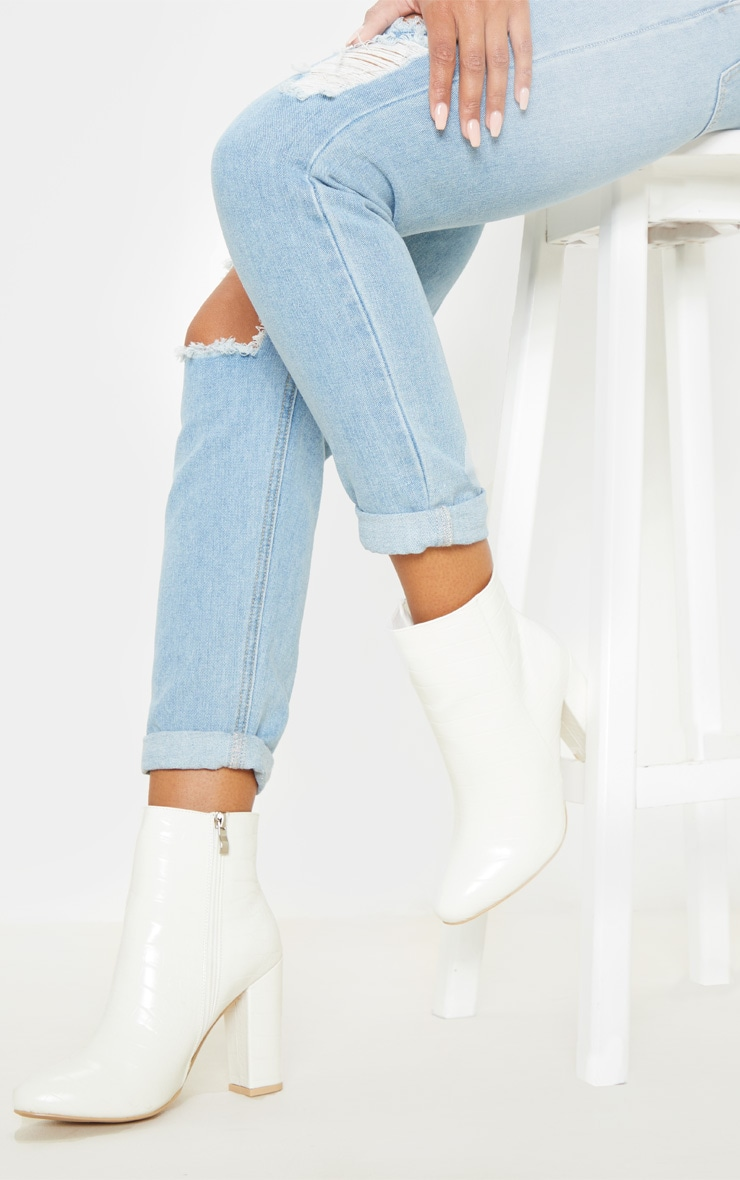 White Croc Behati Ankle Boot 1