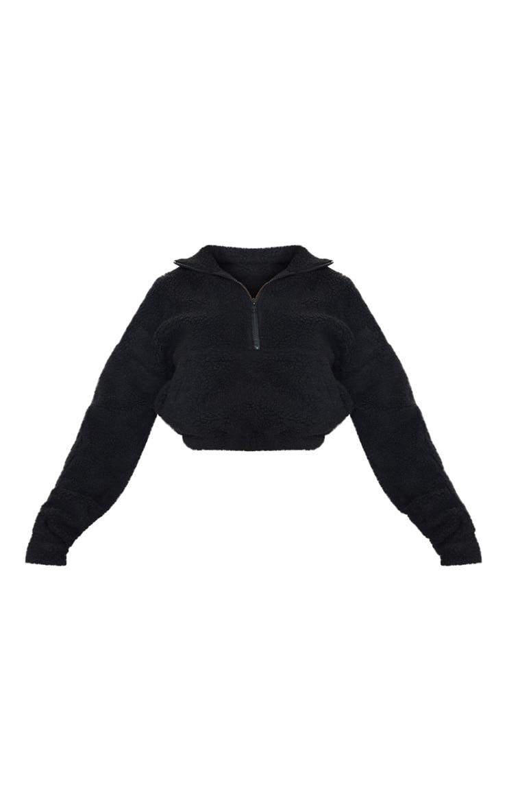 Sweat oversize noir en imitation mouton à zip frontal  3