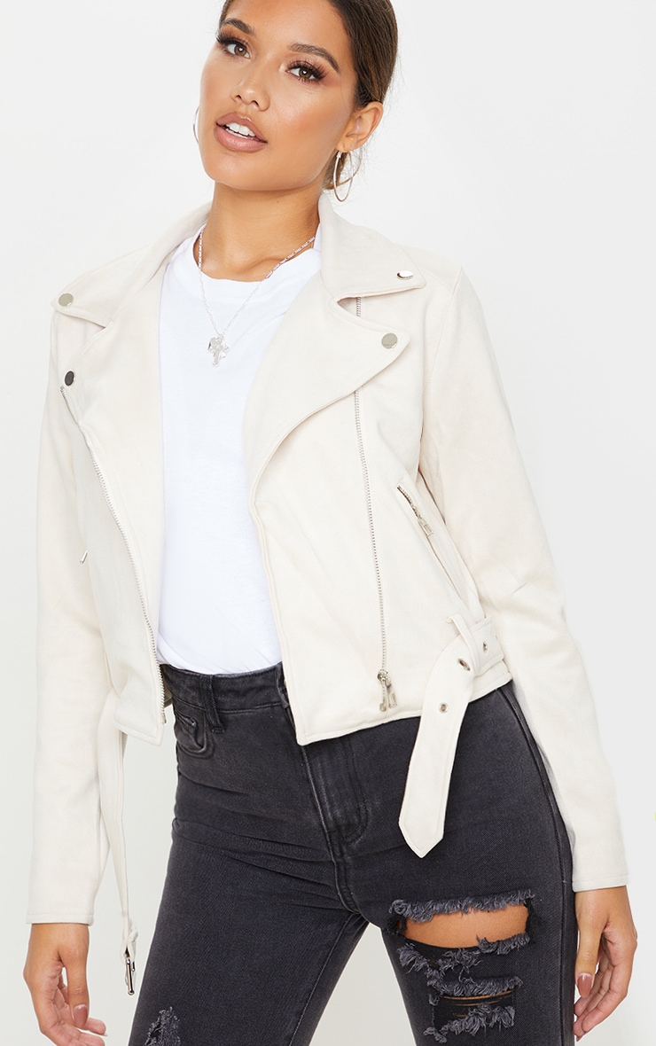 Cream Faux Suede Biker Jacket  1