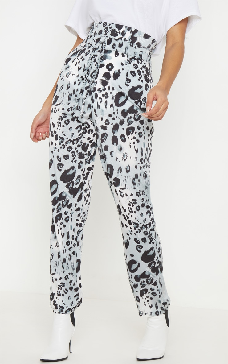 Leopard Print Paperbag Waist Tapered Leg Pants 4